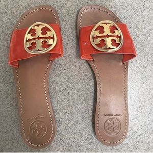 Orange patent leather Tory Burch flaps worn once